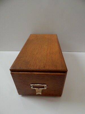 VINTAGE OAK CARD CATALOG Single DRAWER  FILE BOX-LIBRARY-RECIPES 3x5  - IMPERIAL