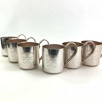 Smirnoff Mule Mugs Lot of 6 Metal Copper Colored Vodka Barware Party Hong Kong