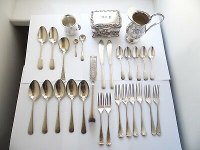 Antique & Vintage Silver Plated Cutlery Jug Jewelery Box And Cup Job Lot