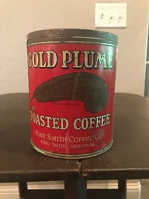 Vintage Gold Plume Toasted Coffee Tin, Net Weight 3 Lbs, Fort Smith, Arkansas