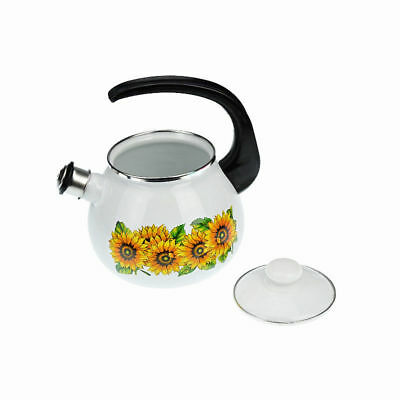 Enamel Stainless Steel Whistling Kettle 2,5L Hob Stove Gas Induction Flowers