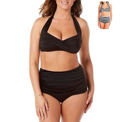 35a885887b Suddenly Slim By Catalina Women's Slimming High-Waisted Bikini Two-Piece Set