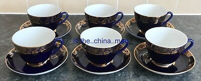 set of 6 LOMONOSOV USSR RUSSIAN porcelain COBALT BLUE & GOLD CUPS & SAUCERS