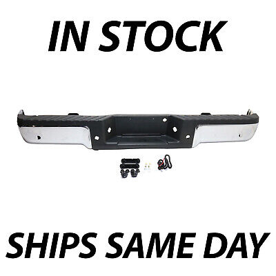 NEW Chrome - Complete Rear Steel Bumper Assembly for 2009-2014 Ford F150 w/ Park