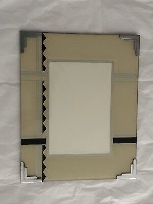 Vintage Silver, Black, and Tan Art Deco 8x10 Picture Frame for 5x7 picture