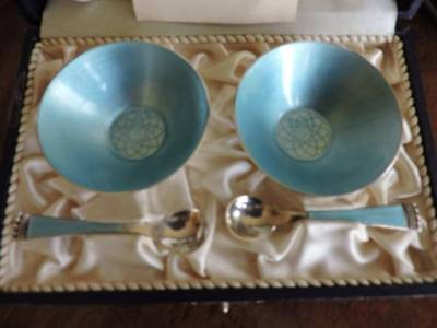 Vintage ELA Denmark Sterling Silver Turquoise Blue Enamel Salt Cellar Set in Box