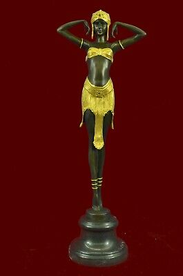 "Signed Chiparus Charming Dancer Bronze Marble Statue Sculpture 19"" Tall Figurine"