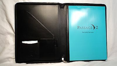 Passage 2 3105 Black Nappa Leather Zippered Letter Sized Writing Pad