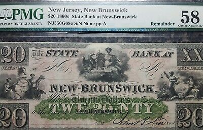 1860's $20, PMG 58 Choice AU, State Bank at New-Brunswick, New Jersey, Remainder