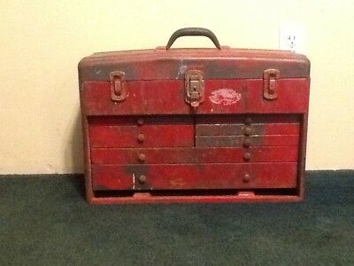 vintage union steel machinist tool box RED 7 drawers top latch