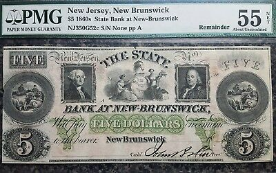 1860's $5 PMG 55 About Uncirculated (Net), State Bank at New Brunswick-Remainder