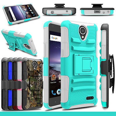For ZTE Maven 3/Overture 3/Z835 Hybrid Clip Stand Rubber Hard Phone Cases Cover