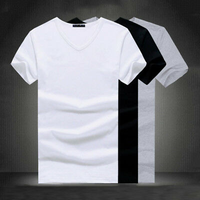 Men V/O Neck T-shirt Cotton Slim Fit Short Sleeve Casual Tops Plus Size Summer