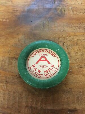 VINTAGE COOKS DAIRY MILK BOTTLE CAP Fort Mill South Carolina Coble Sign Biltmore