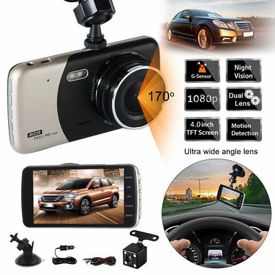 "4"" Dual Car Camera True HD 1080P G-sensor Recorder Crash Cam 170° Dash DVR Video"