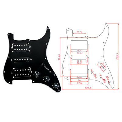 HSH Loaded HSH Pickguard Black Prewired Plate For Strat Electric Guitar