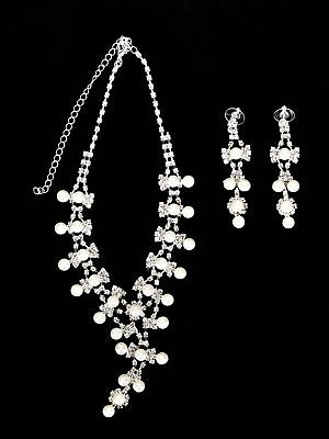 Women's Jewelry Set Pearl Crystal Prom Wedding Bridal Party Necklace Earring