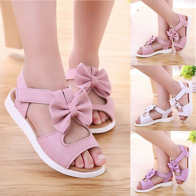 AU Fashion Summer Kids Children Girls Casual Sandals Bowknot Flat Pricness Shoes