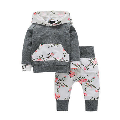 2pcs Toddler Infant Baby Boy Girl Clothes Set Floral Hoodie Tops+Pants Outfits