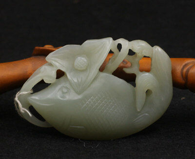 Chinese Exquisite Hand-carved fish carving Hetian jade Pendant