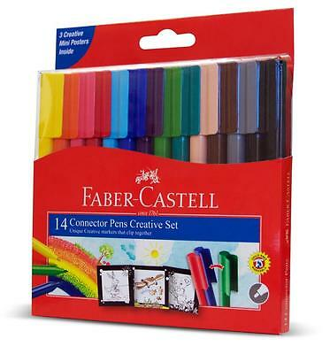 Faber Castell Connector Pen Set 14pc Art Child Safe Washable 2 Black Pens New