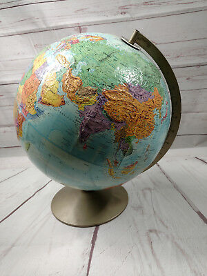 """Vintage Replogle World Nation Series 12"""" Globe w/ 3D Topographical Surface"""