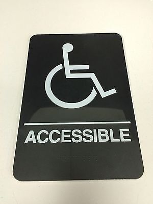 Handicap WHEELCHAIR ACCESSIBLE 6x9 Braille Self-Adhesive Sign -ADA Requirements