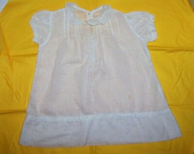 Antique Vintage Embroidered Pleated White Cotton Baby Dress Doll Clothes
