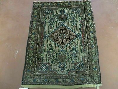"""2' X 2' 5"""" Antique Hand Knotted Made Persian Sarouk Wool Rug Carpet Ivory Nice"""