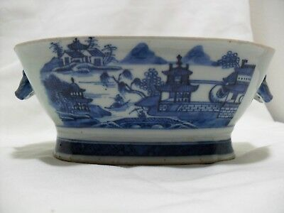 18/19th Century Chinese Qing Dynasty Blue and White LARGE Porcelain Deep Bowl