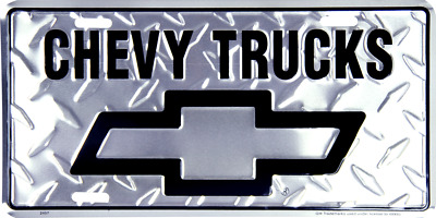 Chevrolet Chevy Trucks Diamond Aluminum Metal Car License Plate Sign Tag
