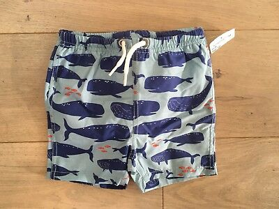 NWT Baby Boden Boys Size 12-18 Months Swim Shorts Bottoms Whales Fish Blue