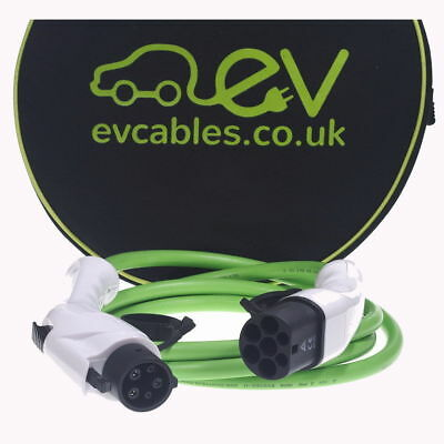 EV Charging Cable GEN 2 J1772 Type 1 to Type 2, 16 Amps, Various lengths - GREEN