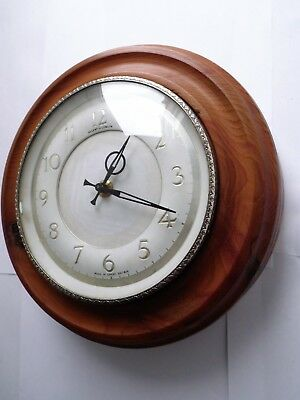 Vintage Solid Turned Hardwood Regent Of London Wind-Up Wall Clock
