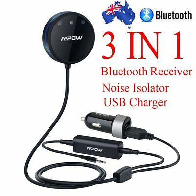 MPOW Handsfree Bluetooth Receiver 3.5mm Car Noise Isolator Aux Audio USB Changer