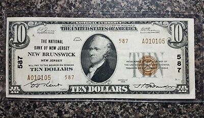 $10 1929 New Brunswick, New Jersey National Currency Bank Note! #587