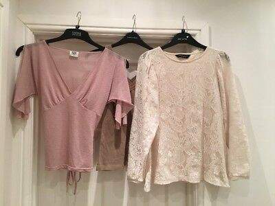 Mink & Cream Bundle Of 3 Tops In  Size 8 From Dorothy Perkins, Select And Bay