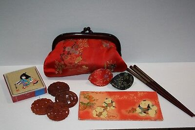 Oriental / Asian Lot Of 12 ~ Purse, Notebook, Chopsticks, Medallions, Etc.