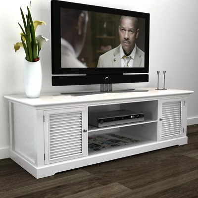 Living Room/Bedroom Wooden White TV Stand With 2 Doors Home Funiture