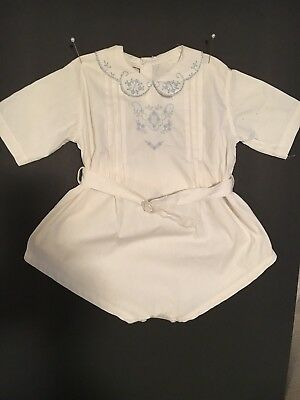 vintage 1940's baby boy romper, white  With light blue Embroidered 6-12 Months