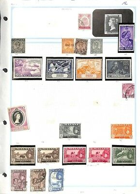 [OP5044] Malaya lot of stamps on 10 pages - see photos in description