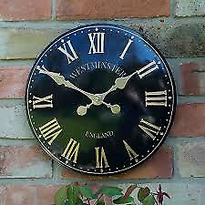"Smart Garden Outside In Designs Westminster Tower Wall Clock 15"" Black"