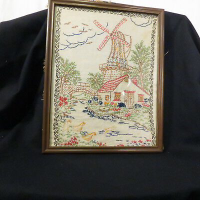 Vintage Hand Embroidered Framed Scene of Windmill & Cottage Shabby Chic, Country