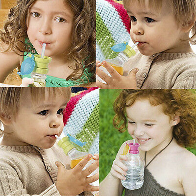 SAFE Baby Drink Sippy Cap Feeding 360 Rotating Spill Proof Straw Choke Tool New