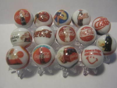 COCA COLA Soda Pop Glass Marbles 5/8 size with Marble Stands