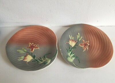 Pair Of Shorter And Son Art Deco Petal Shaped Lily Plates