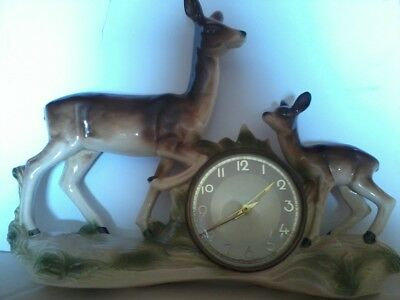 Jema Holland Lustre Ware Deer With Fawn Mantle Clock (459)