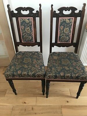 19th Century Carved dining room chairs x 2