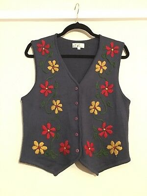Knitted Blue Floral Vintage Waistcoat Size M