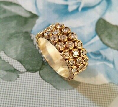Turkish Handmade Jewelry 925 Sterling Silver / White Topaz Lady Band Ring Sz 7>8